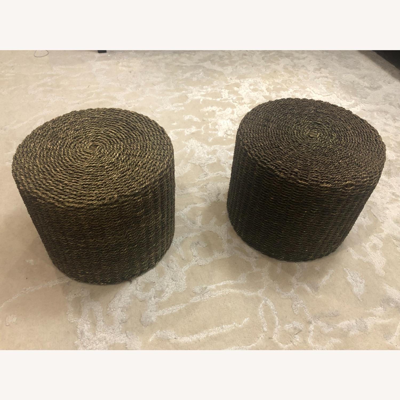 Pair of Round Jute Stools - image-7