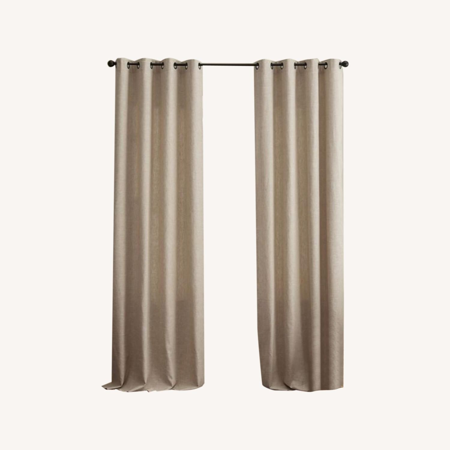 Pottery Barn Linen Curtains with Blackout Liners - image-0