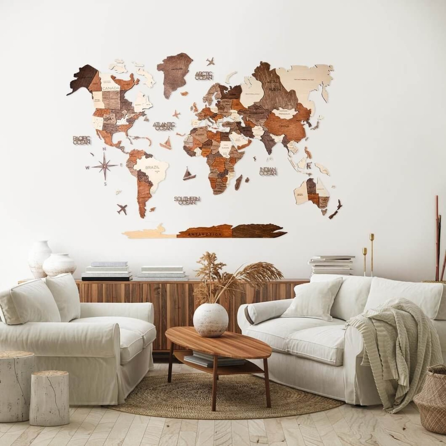 3D Wooden World Map Multicolor - image-1
