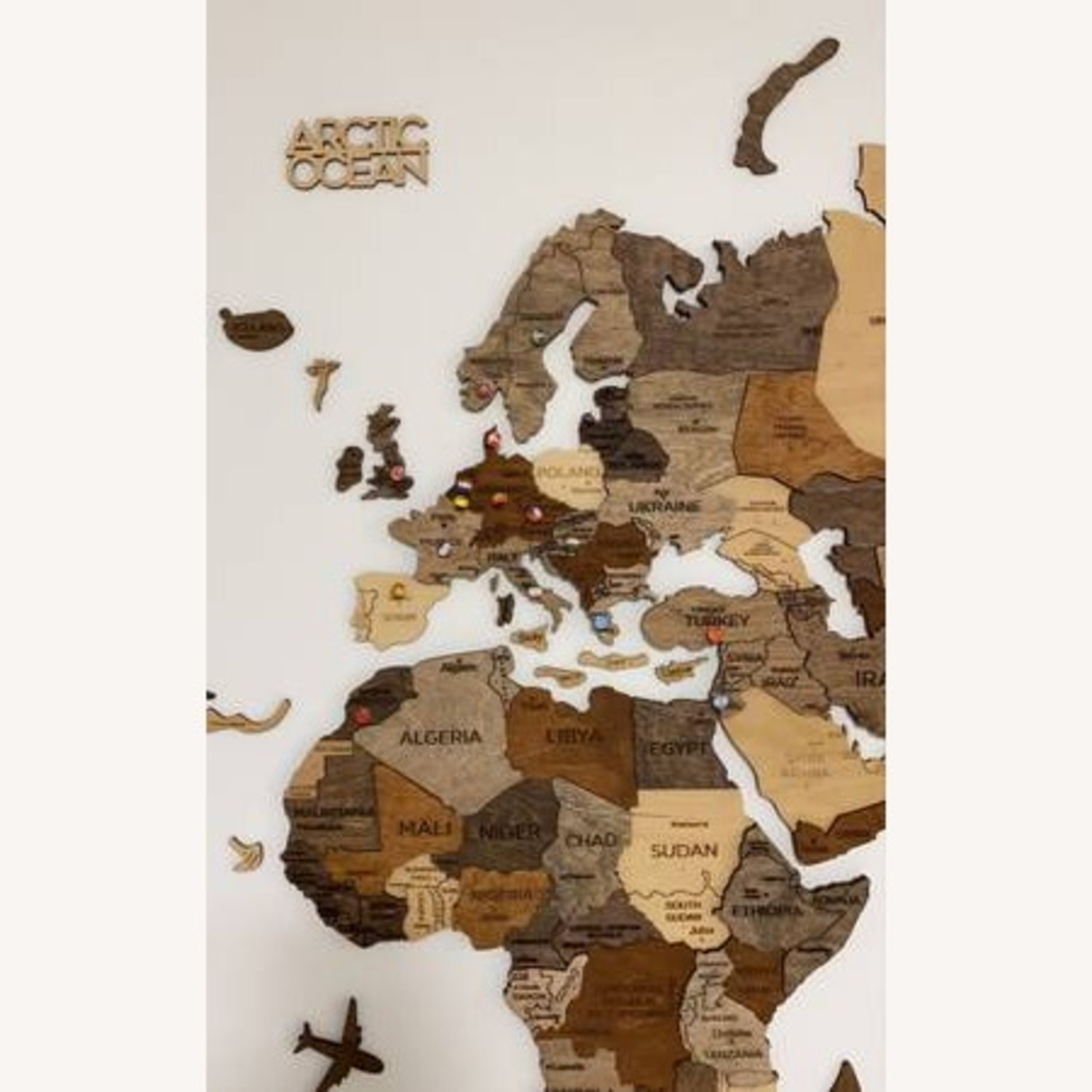 3D Wooden World Map Multicolor - image-3