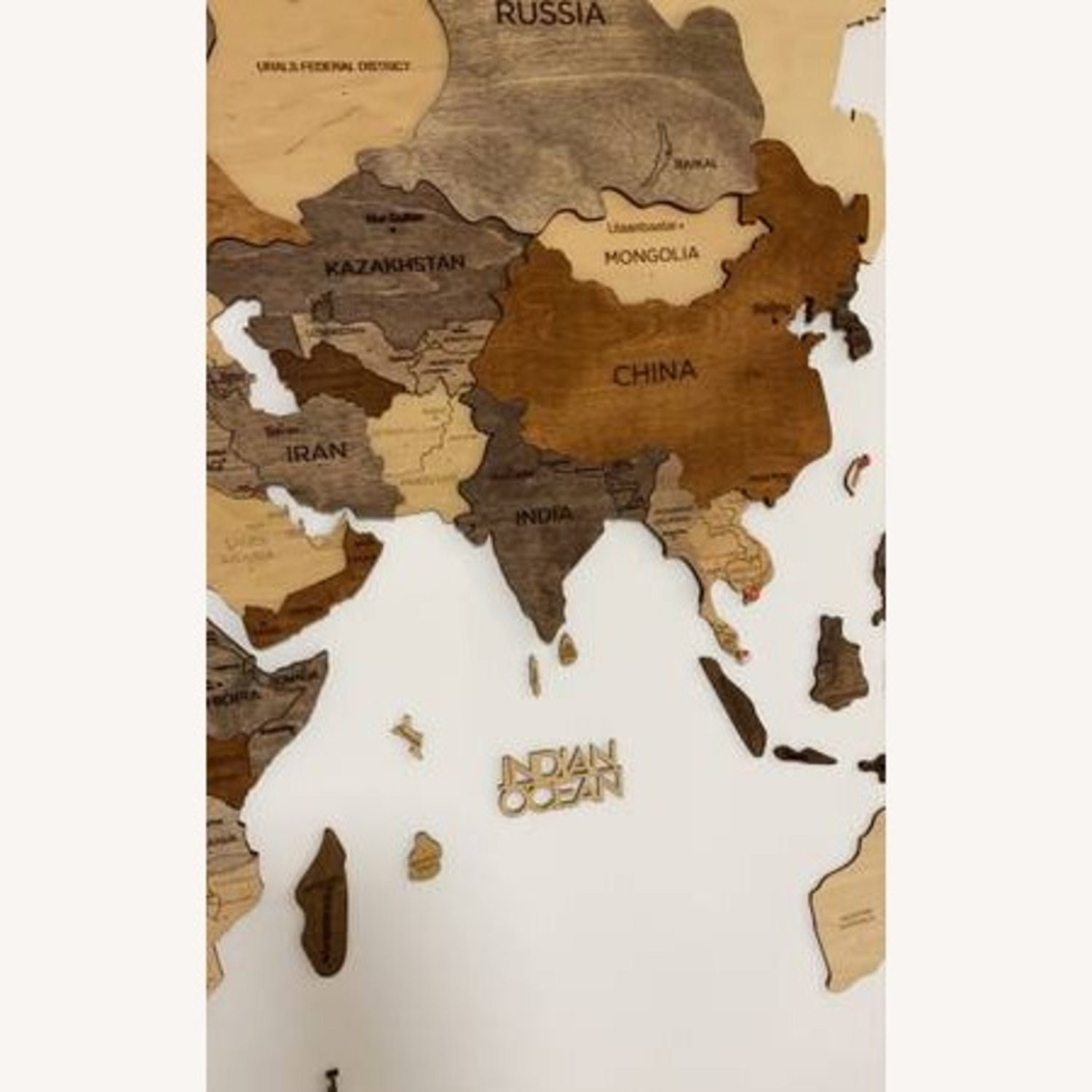 3D Wooden World Map Multicolor - image-5