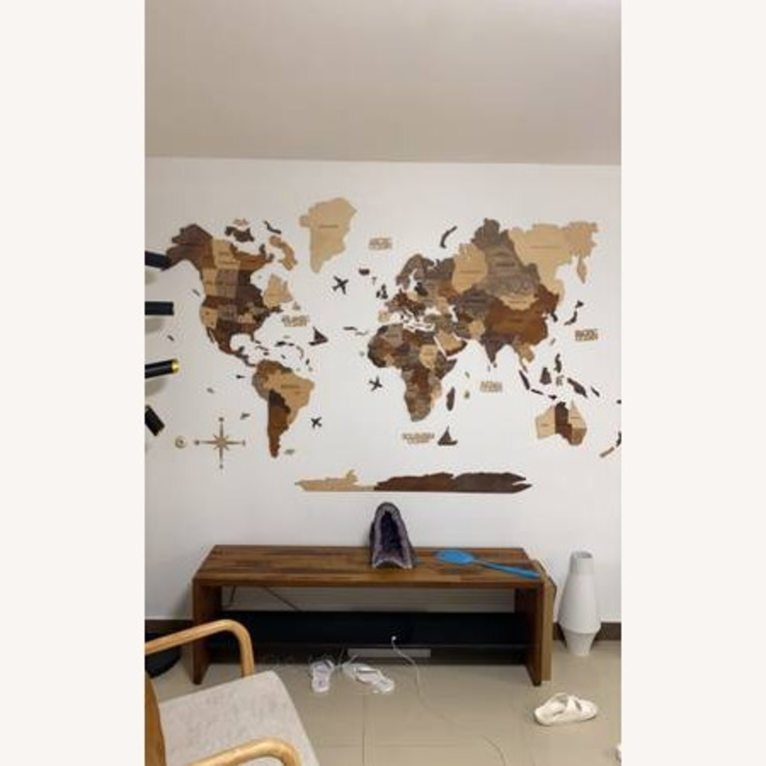 3D Wooden World Map Multicolor - image-2