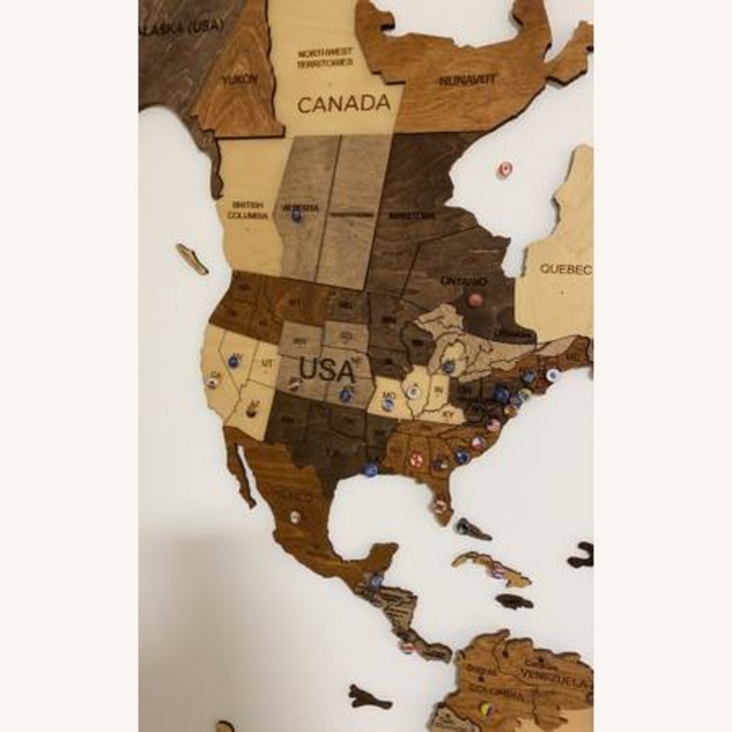3D Wooden World Map Multicolor - image-4