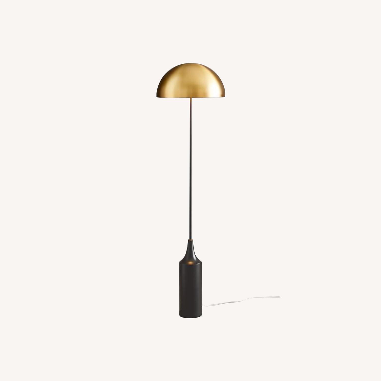 West Elm Hudson Floor Lamp, Antique Brass - image-0