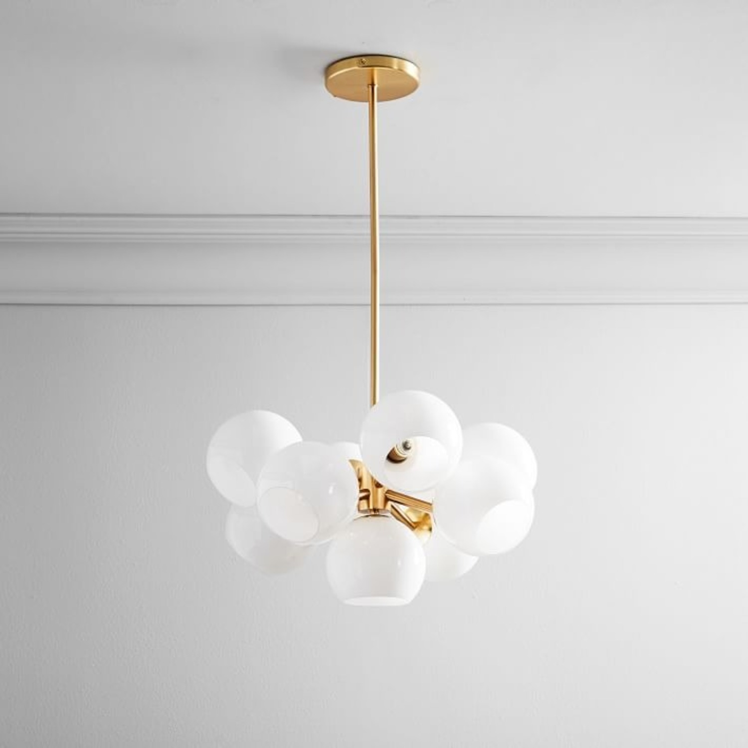 West Elm Staggered Glass Chandelier, Brass - image-2