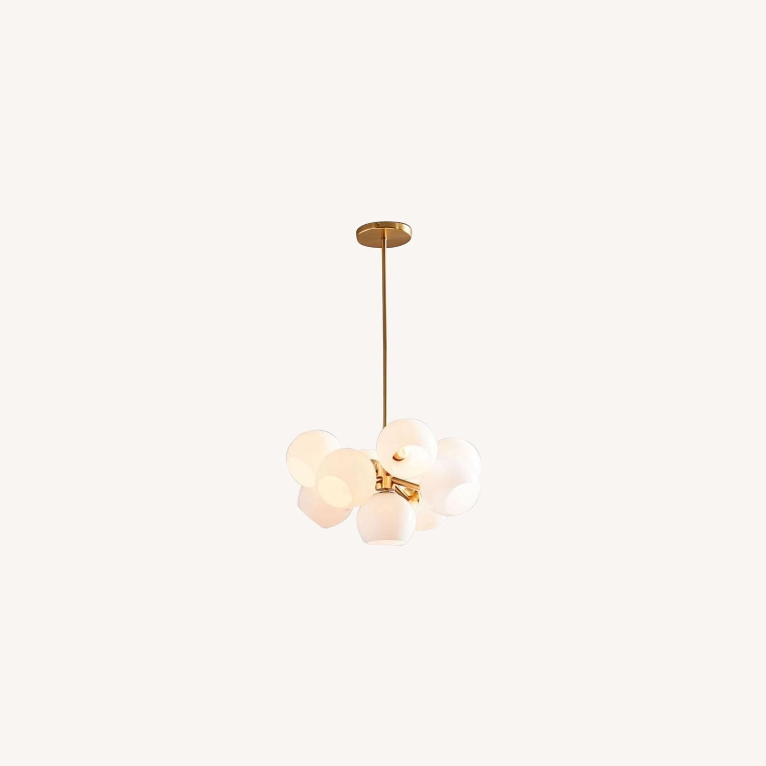 West Elm Staggered Glass Chandelier, Brass - image-0