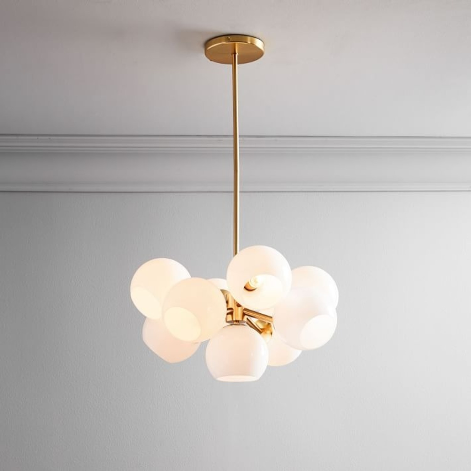 West Elm Staggered Glass Chandelier, Brass - image-1