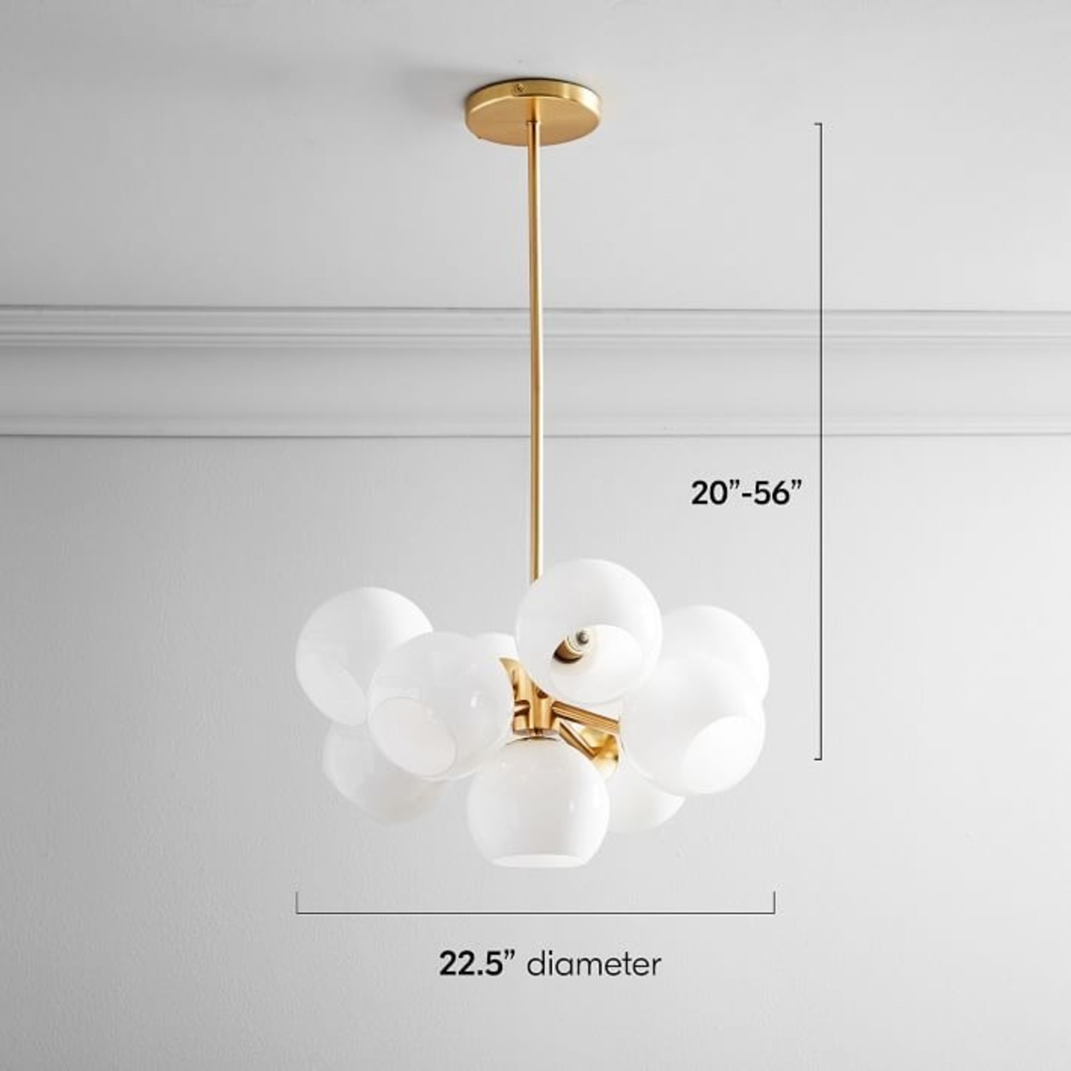 West Elm Staggered Glass Chandelier, Brass - image-3