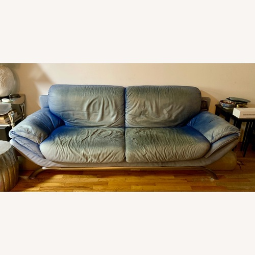 Used Natuzzi Modern Dyed Blue Leather Couch for sale on AptDeco