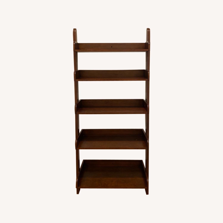 Pottery Barn Espresso Ladder Bookcase - image-0