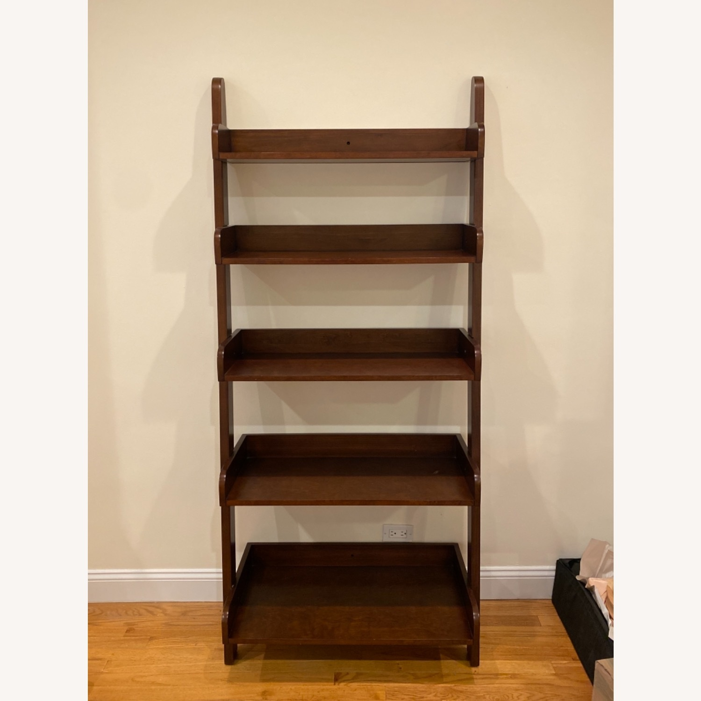 Pottery Barn Espresso Ladder Bookcase - image-1