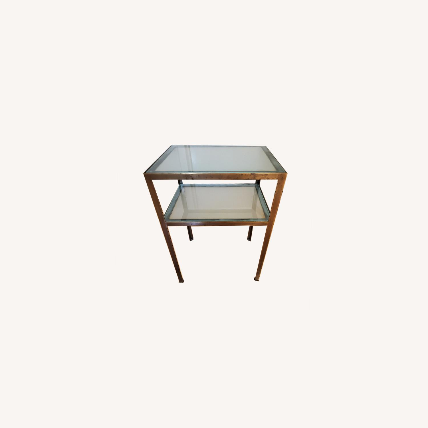 Small two-tiered Glass and Brass End Table - image-0