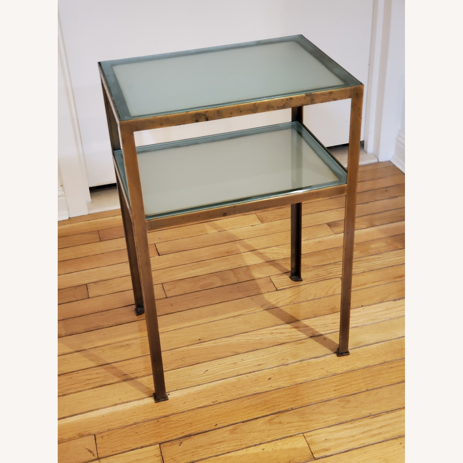 Small two-tiered Glass and Brass End Table - image-1