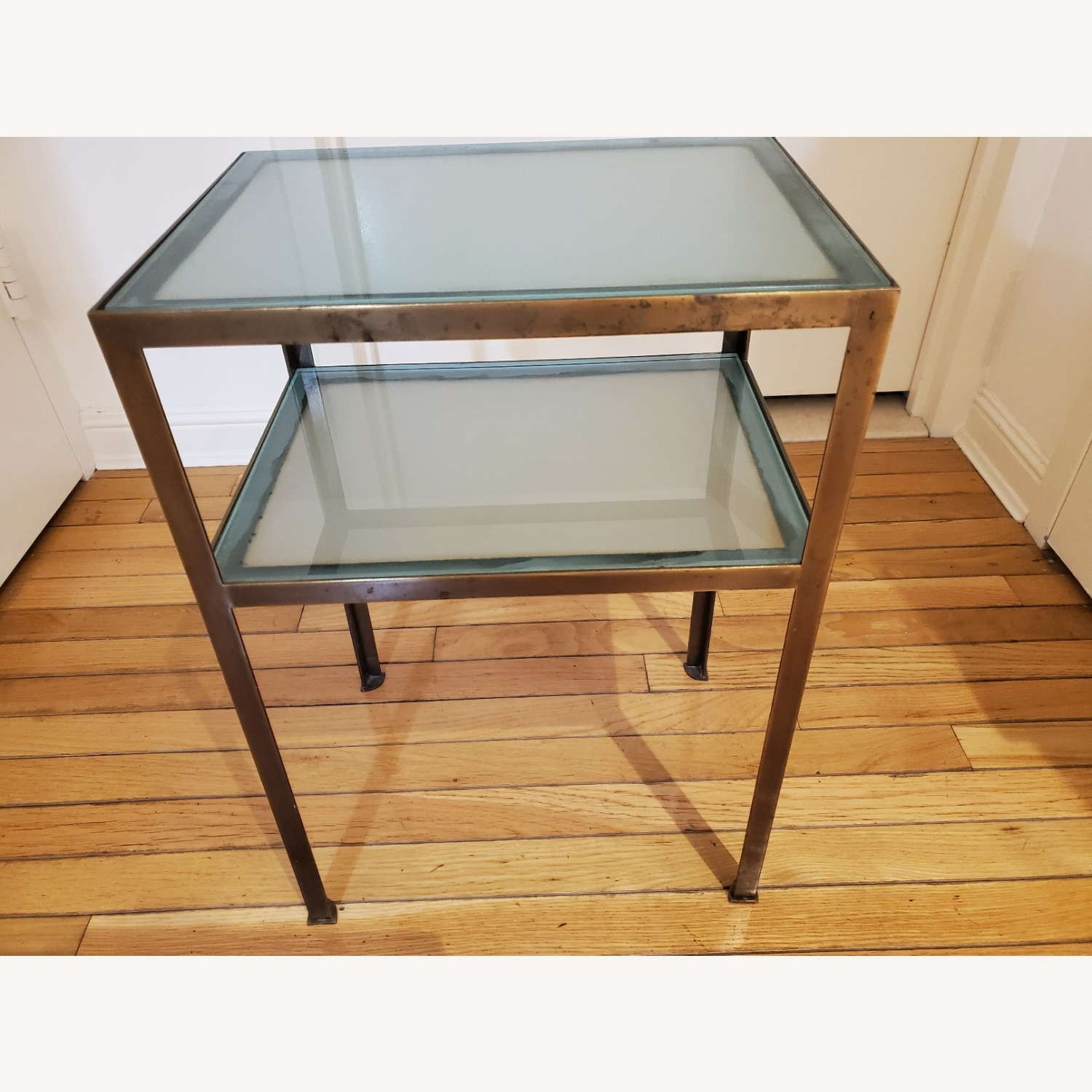 Small two-tiered Glass and Brass End Table - image-3