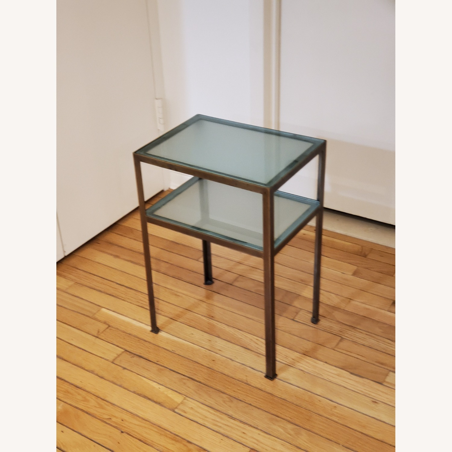 Small two-tiered Glass and Brass End Table - image-2