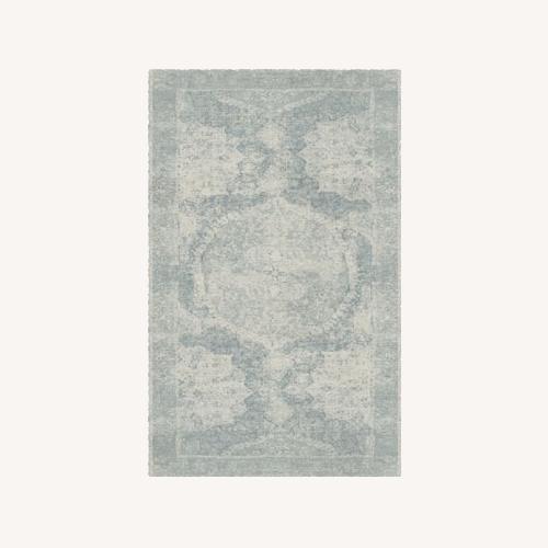 Used Pottery Barn Wool Barret Rug Porcelain Blue 5x8 for sale on AptDeco