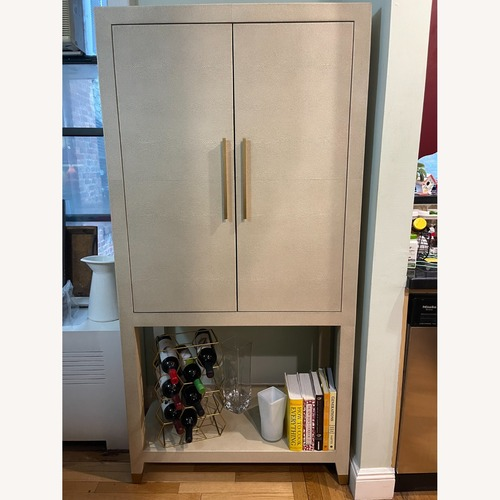 Used Restoration Hardware Graydon Shagreen Bar Cabinet for sale on AptDeco