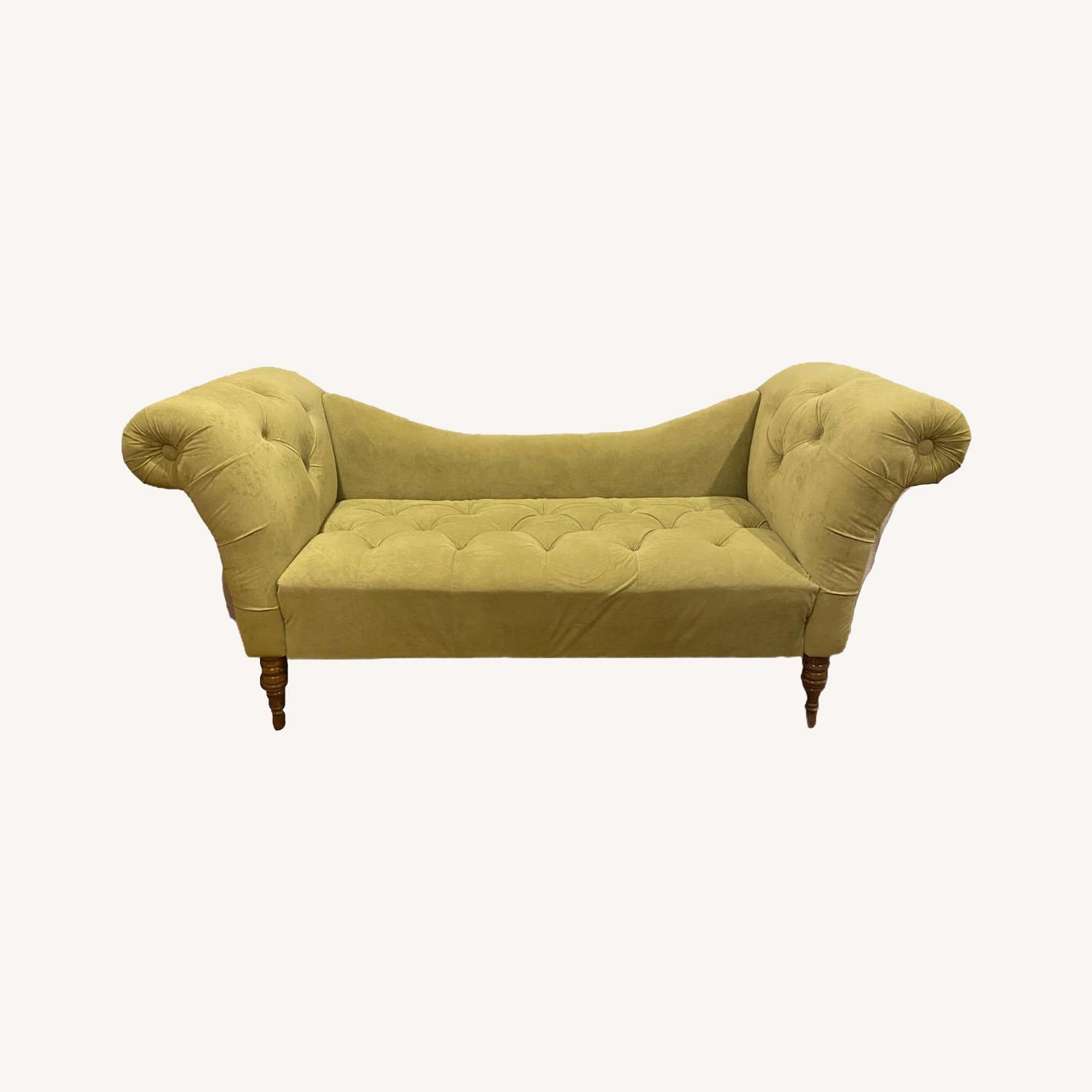 Urban Outfitters Velvet Fainting Couch Green Sofa - image-0