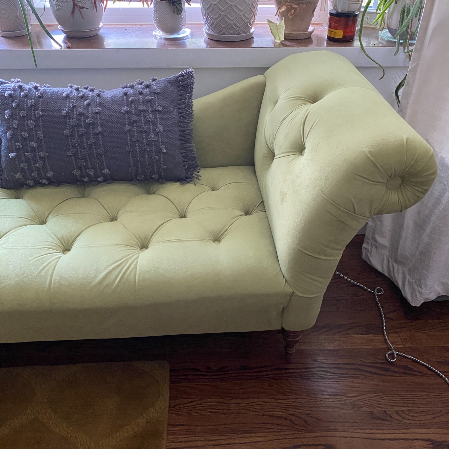 Urban Outfitters Velvet Fainting Couch Green Sofa - image-6