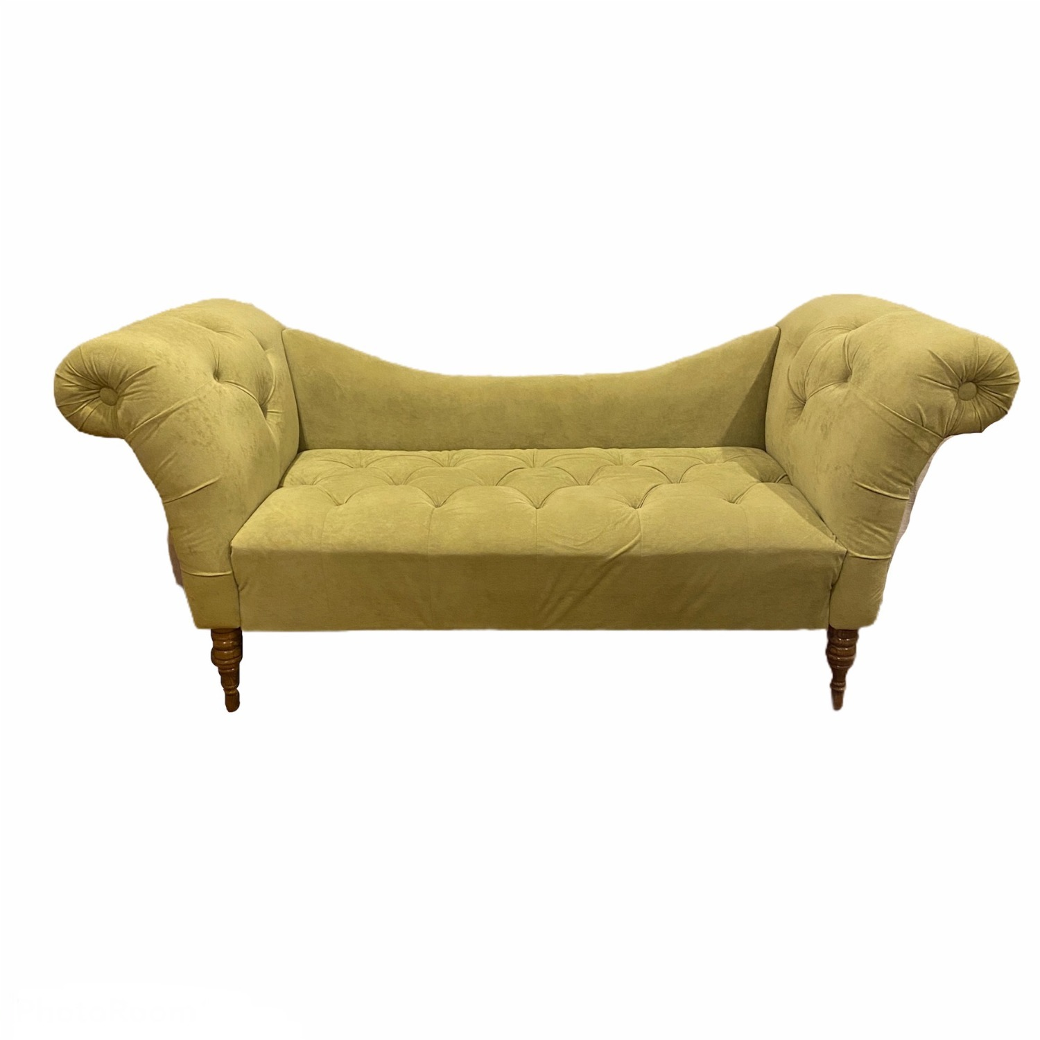 Urban Outfitters Velvet Fainting Couch Green Sofa - image-1
