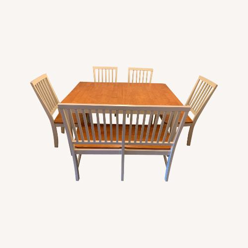Used Raymour & Flanigan Dining Set w/ Bench for sale on AptDeco