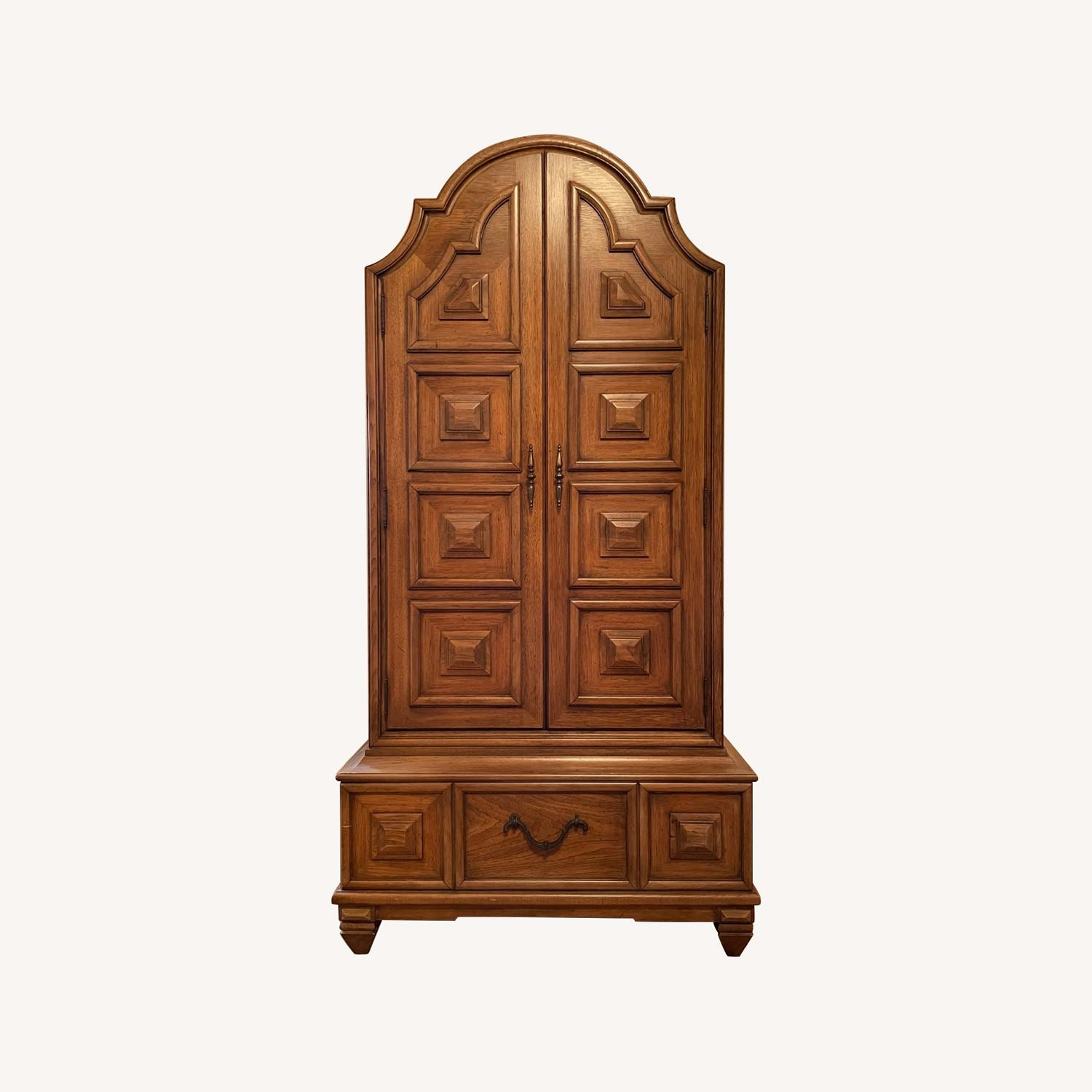 Solid Wood Carved Vintage Armoire - image-0