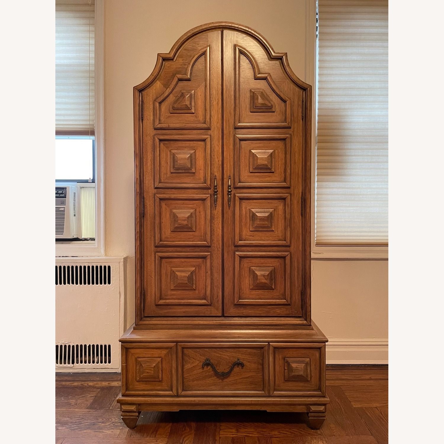 Solid Wood Carved Vintage Armoire - image-1