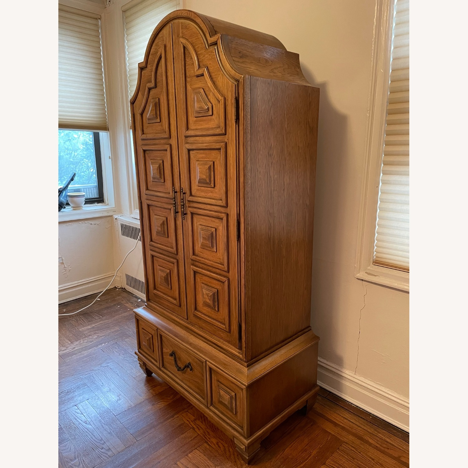 Solid Wood Carved Vintage Armoire - image-2