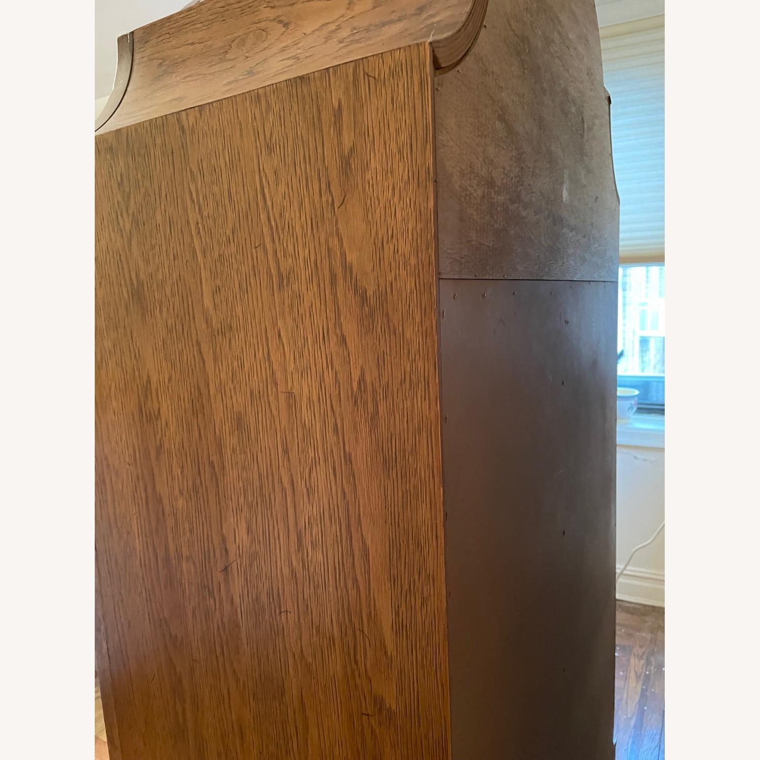 Solid Wood Carved Vintage Armoire - image-7