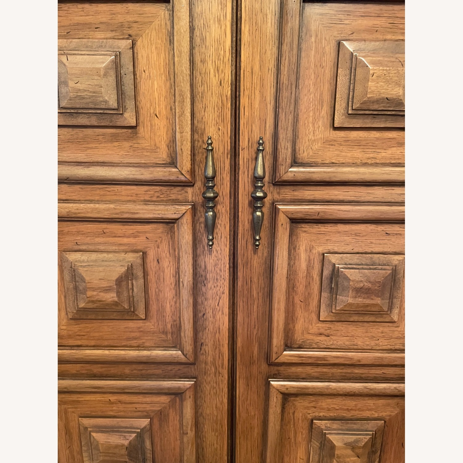 Solid Wood Carved Vintage Armoire - image-6