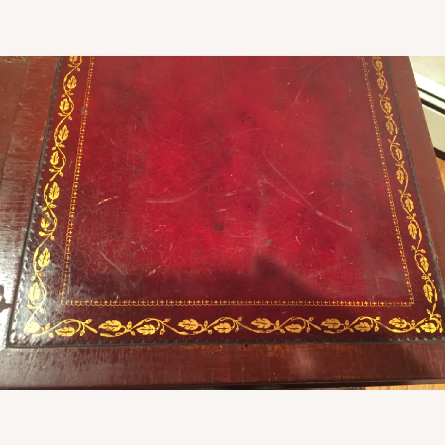 Antique Mahogany/Leather Side Table - image-5