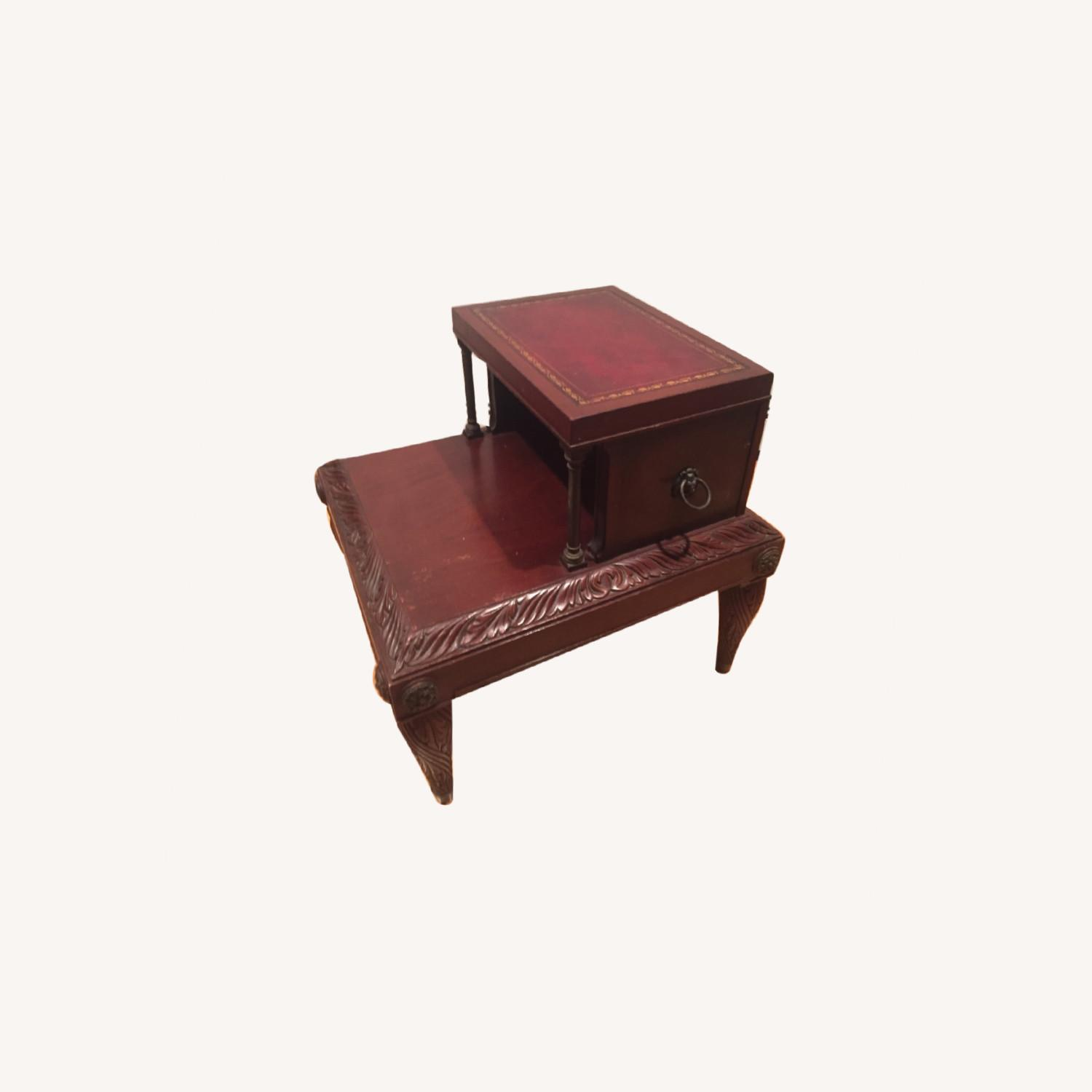 Antique Mahogany/Leather Side Table - image-0