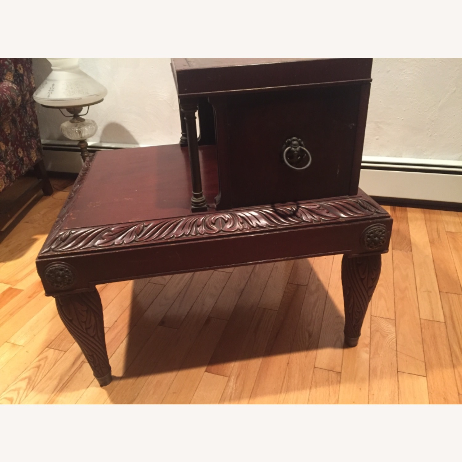 Antique Mahogany/Leather Side Table - image-3