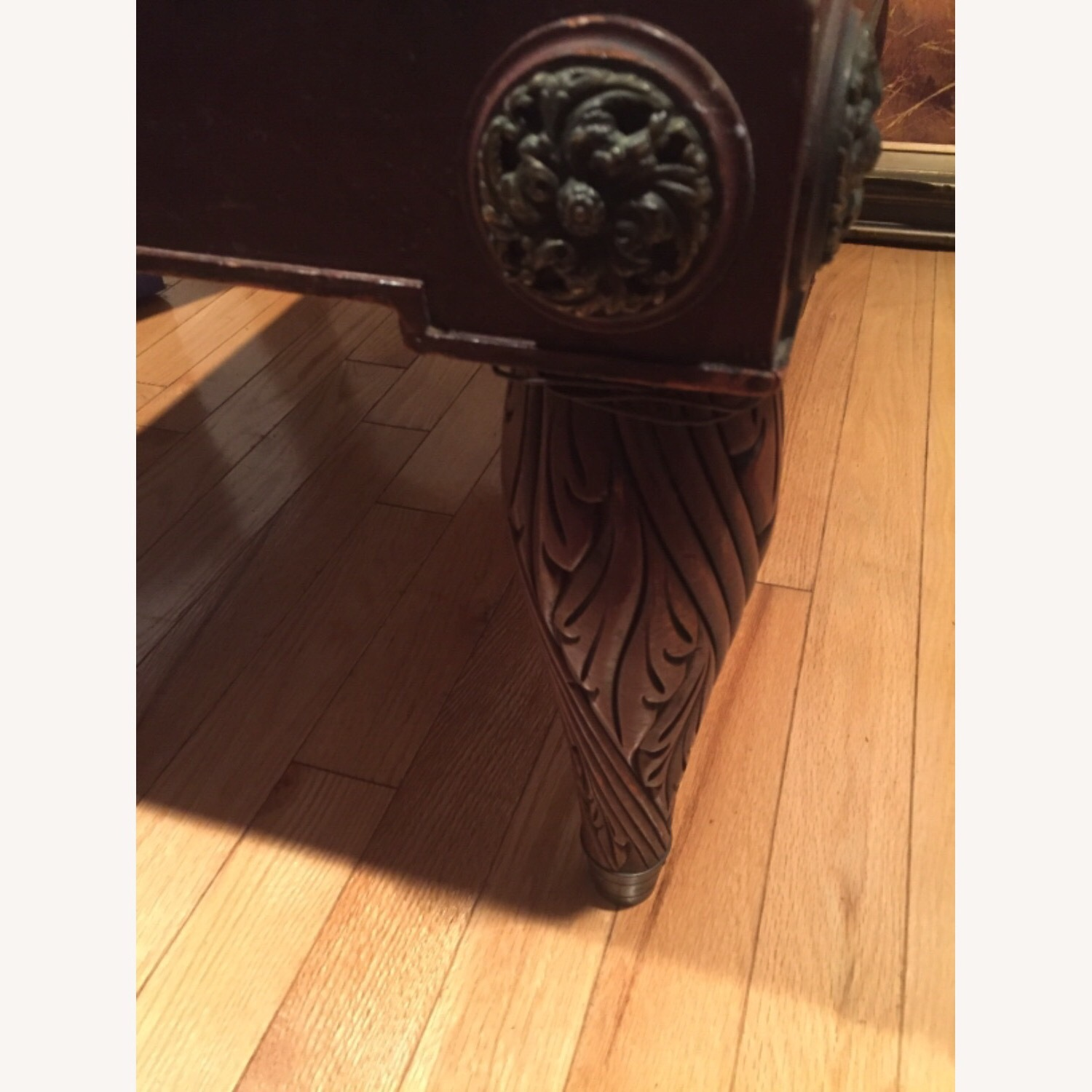 Antique Mahogany/Leather Side Table - image-7