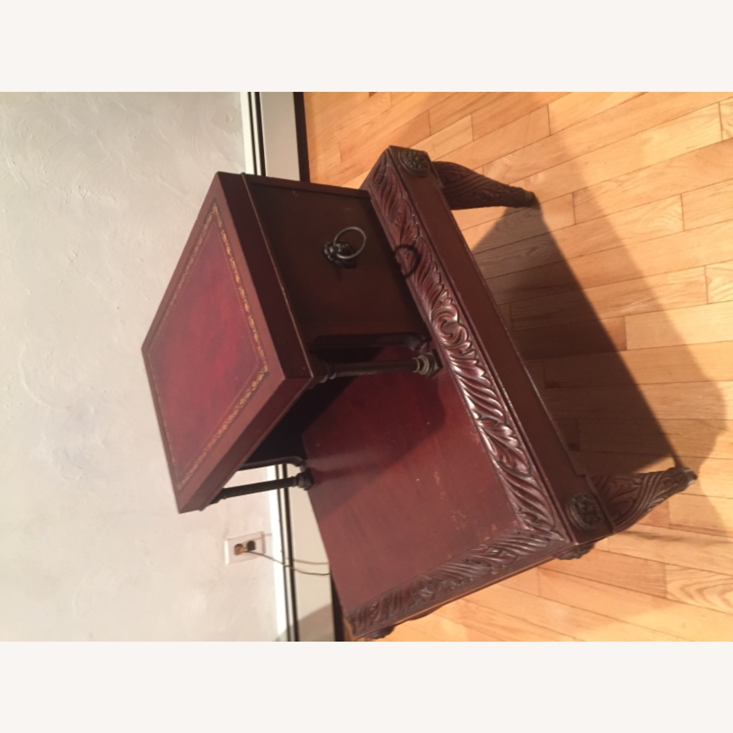 Antique Mahogany/Leather Side Table - image-1