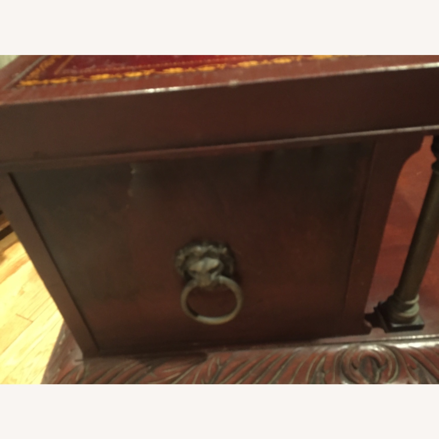 Antique Mahogany/Leather Side Table - image-4