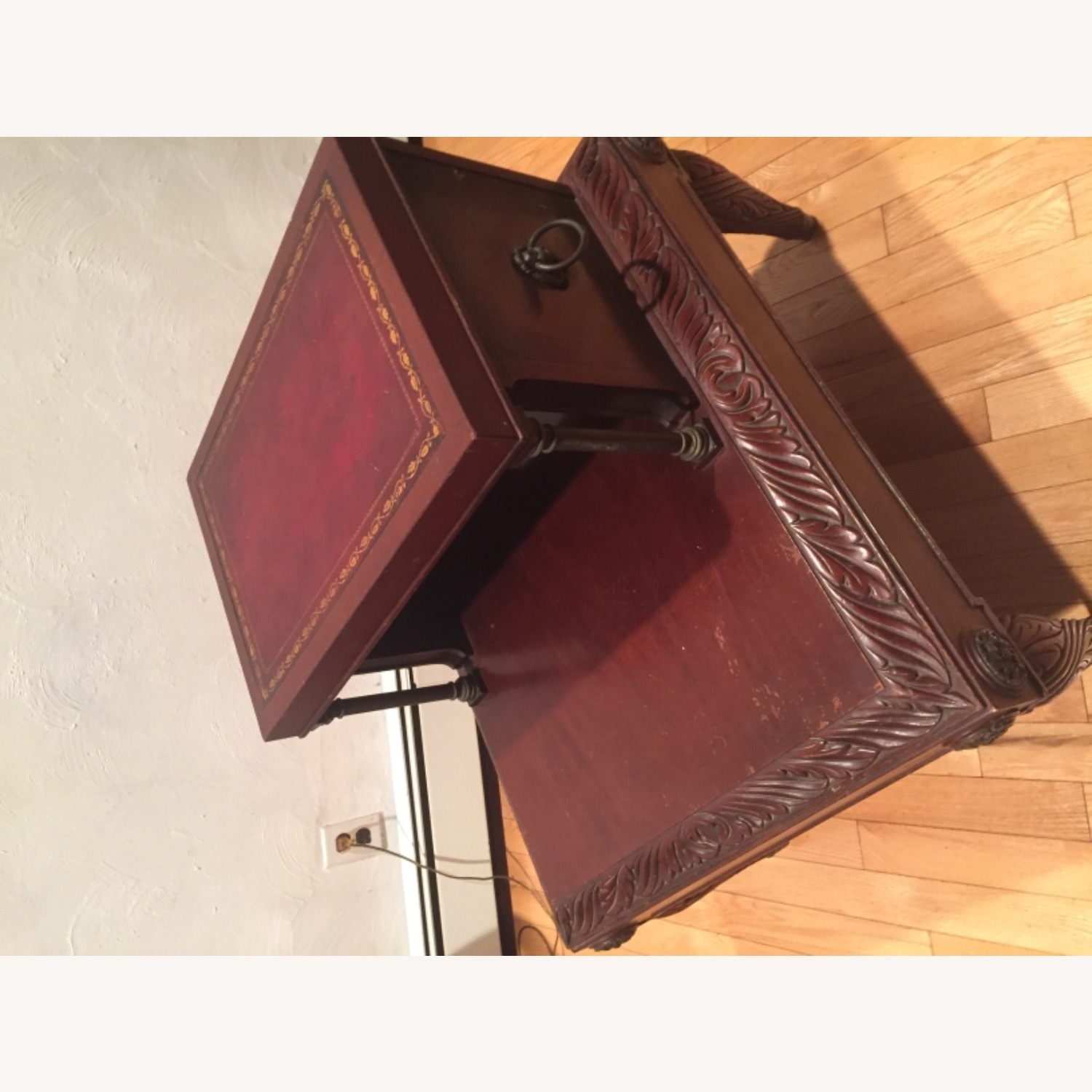 Antique Mahogany/Leather Side Table - image-2