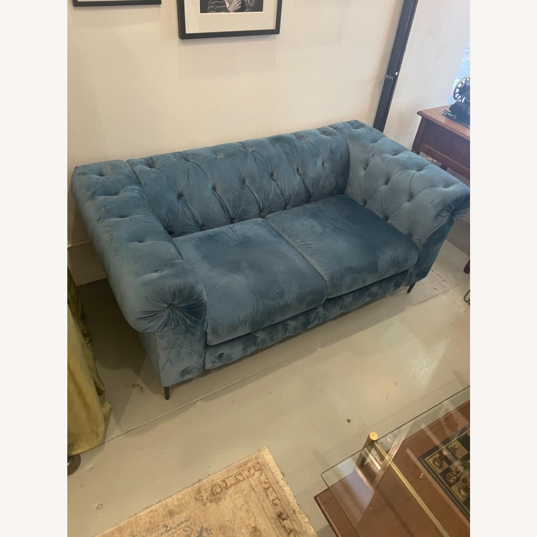 Pristine Blue Velvet Sofa - image-3