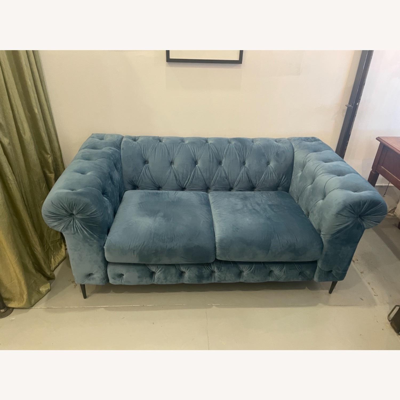 Pristine Blue Velvet Sofa - image-1
