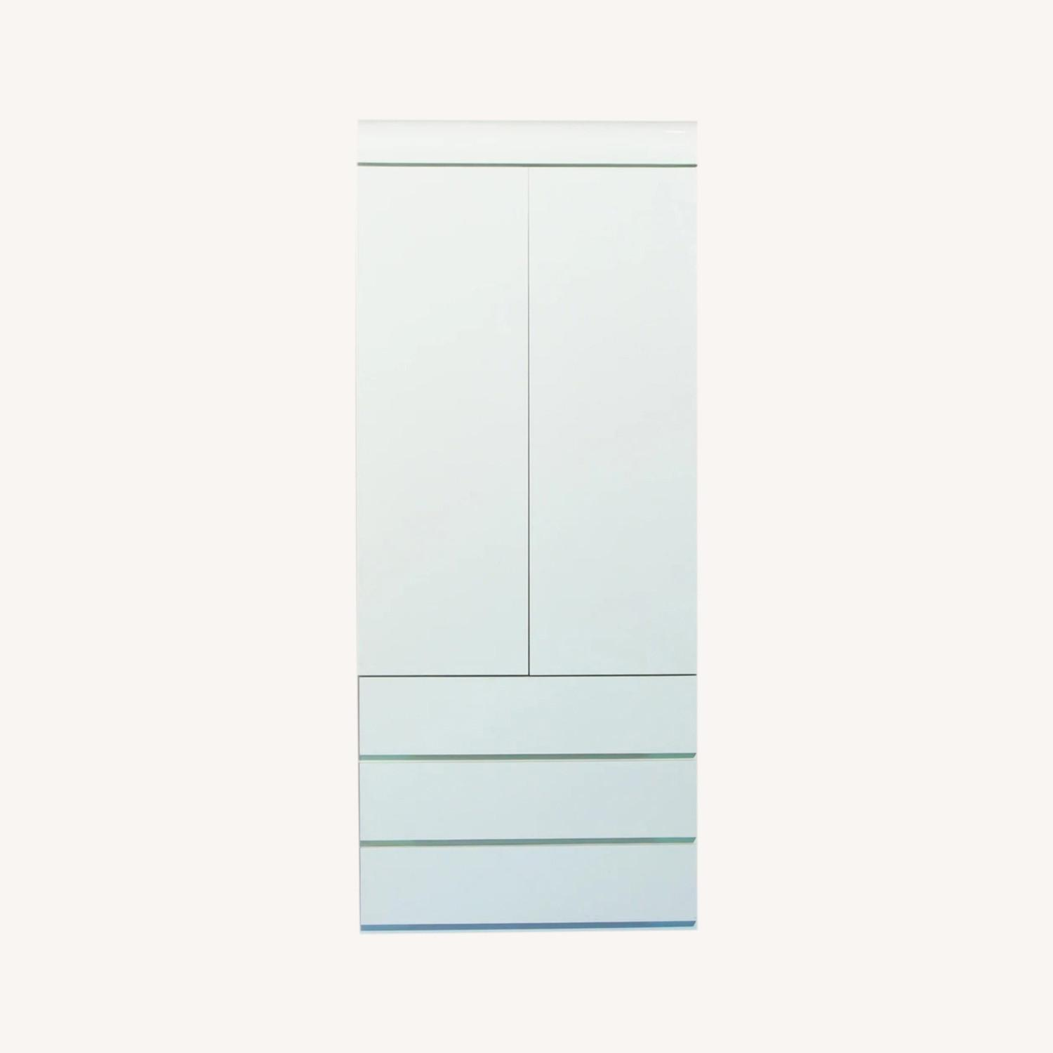 1980s Glossy Mint Laminate Armoire - image-0