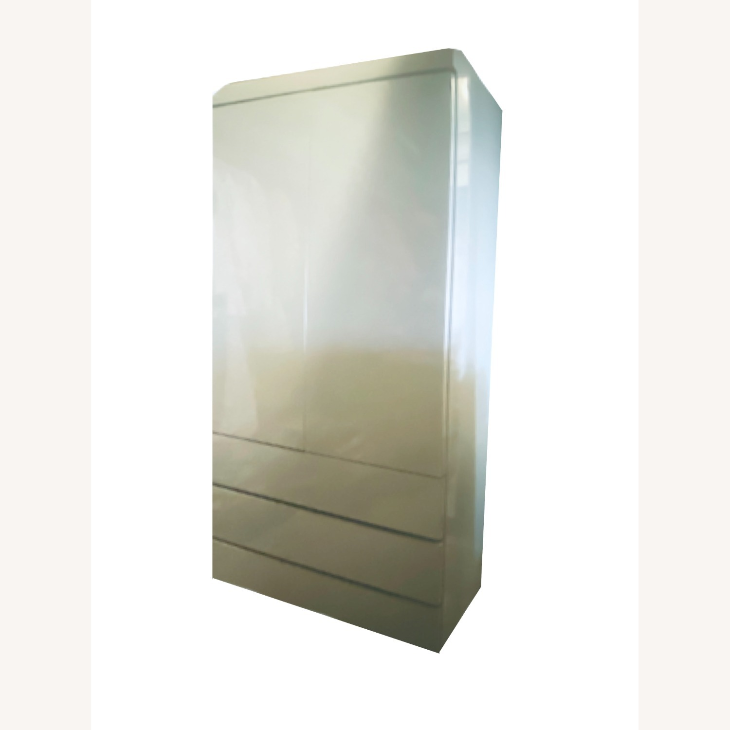 1980s Glossy Mint Laminate Armoire - image-3