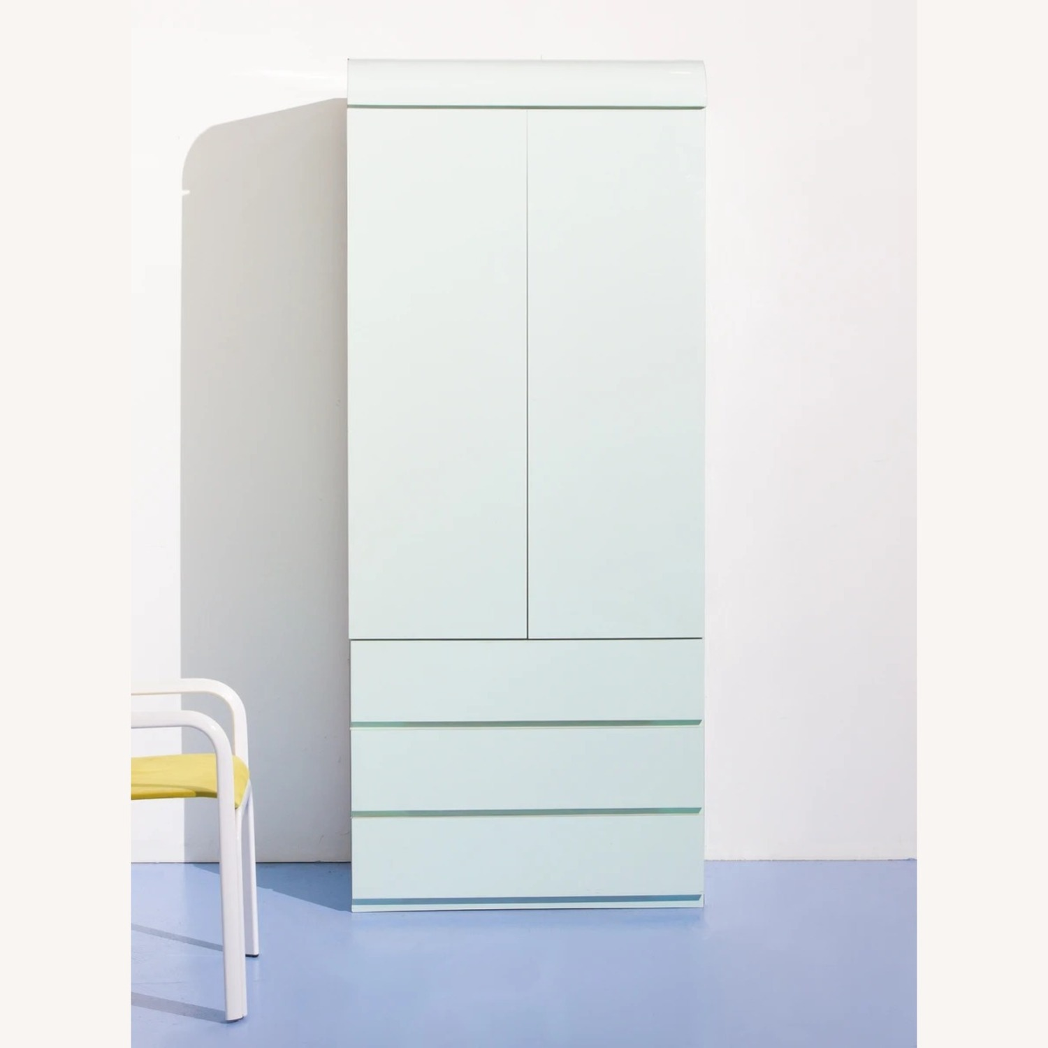 1980s Glossy Mint Laminate Armoire - image-1