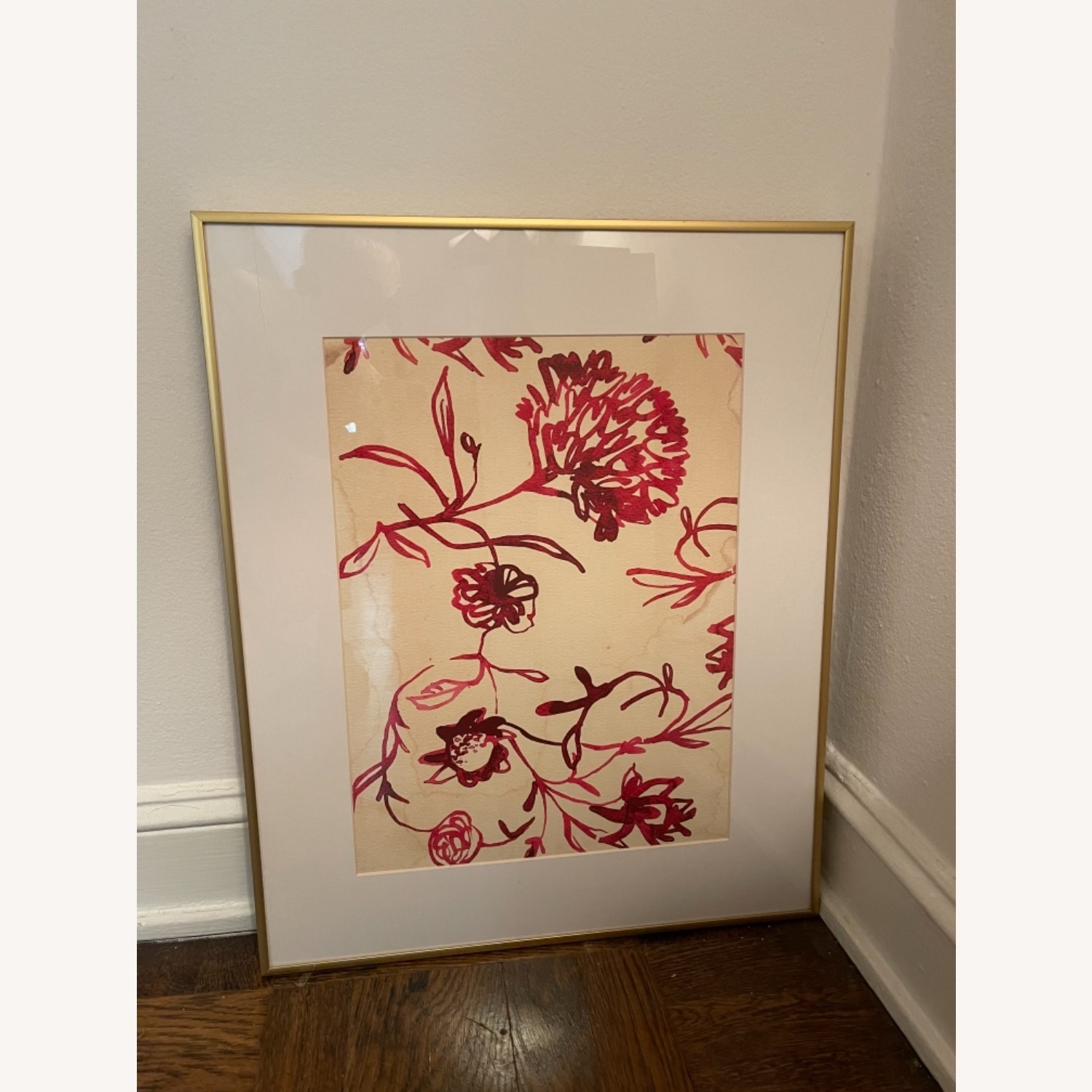Pink Floral Watercolor Painting in Gold Frame - image-2