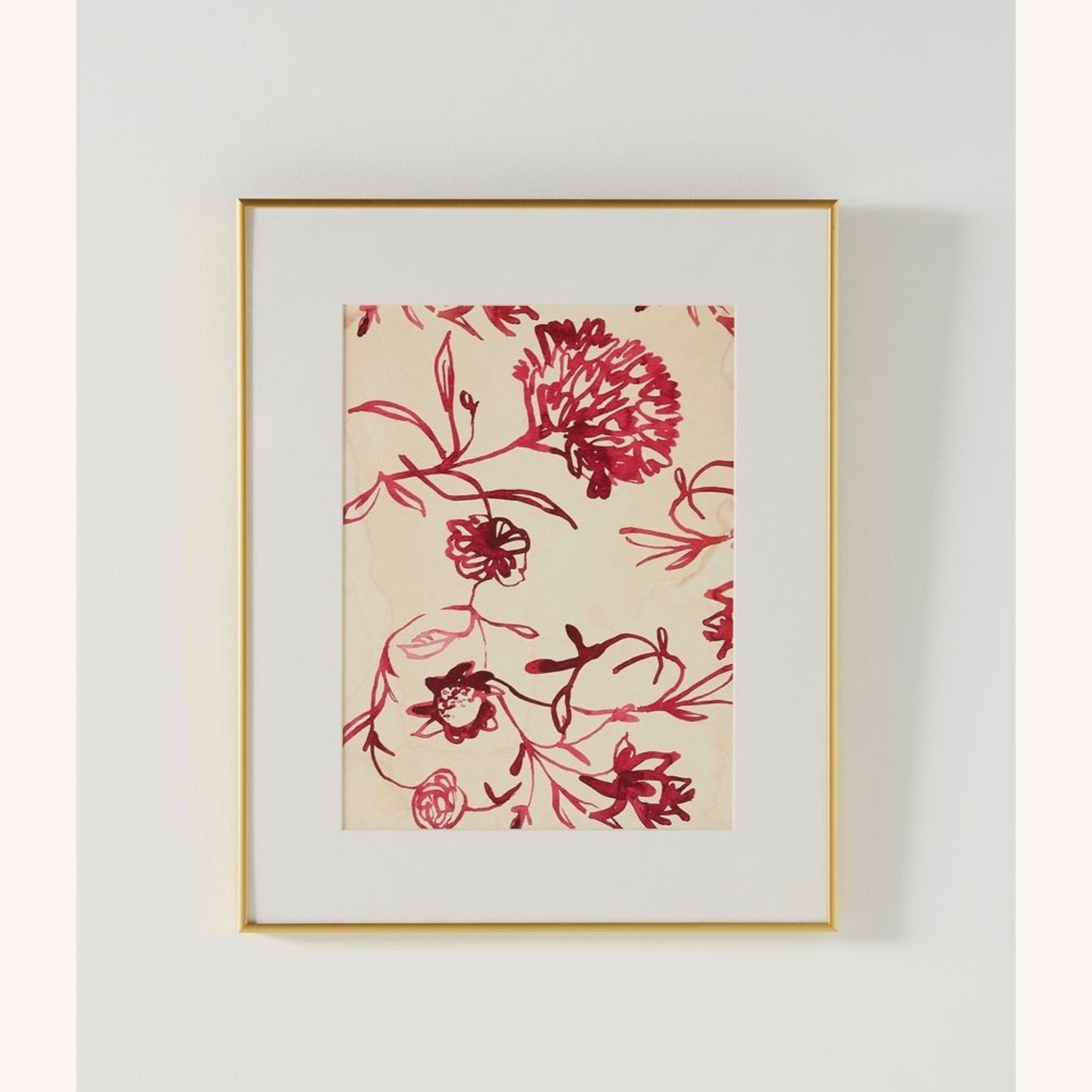 Pink Floral Watercolor Painting in Gold Frame - image-1