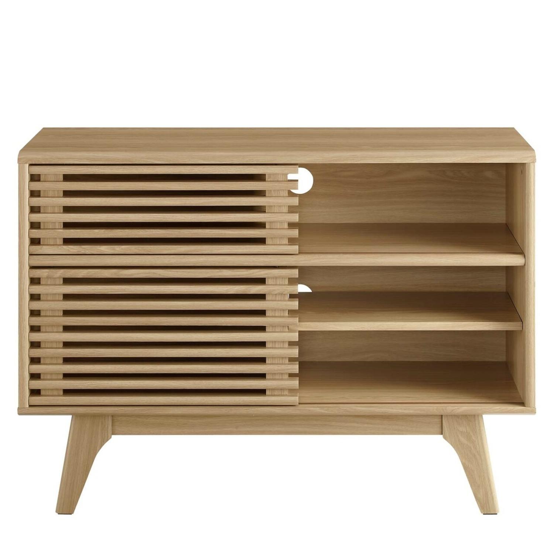 Display Stand In Oak Finish W/ Adjustable Shelf - image-2