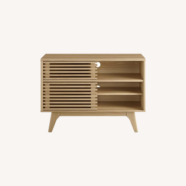 Display Stand In Oak Finish W/ Adjustable Shelf - image-9