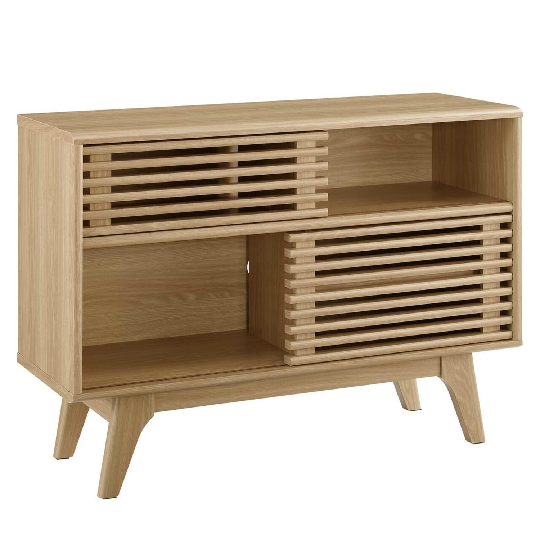 Display Stand In Oak Finish W/ Adjustable Shelf - image-0