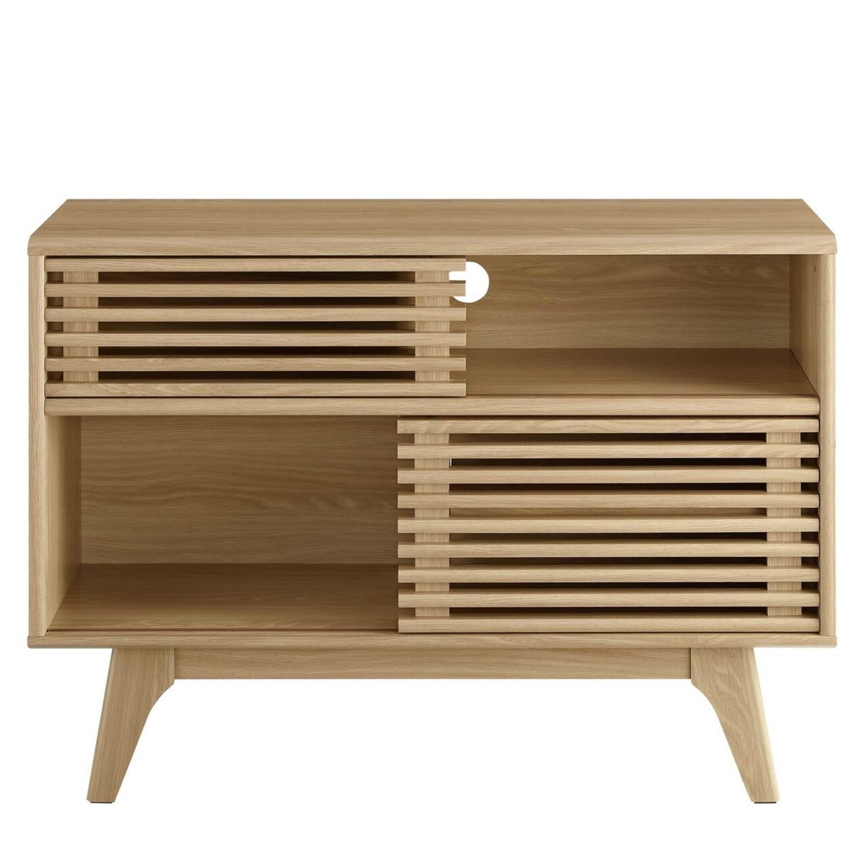 Display Stand In Oak Finish W/ Adjustable Shelf - image-1