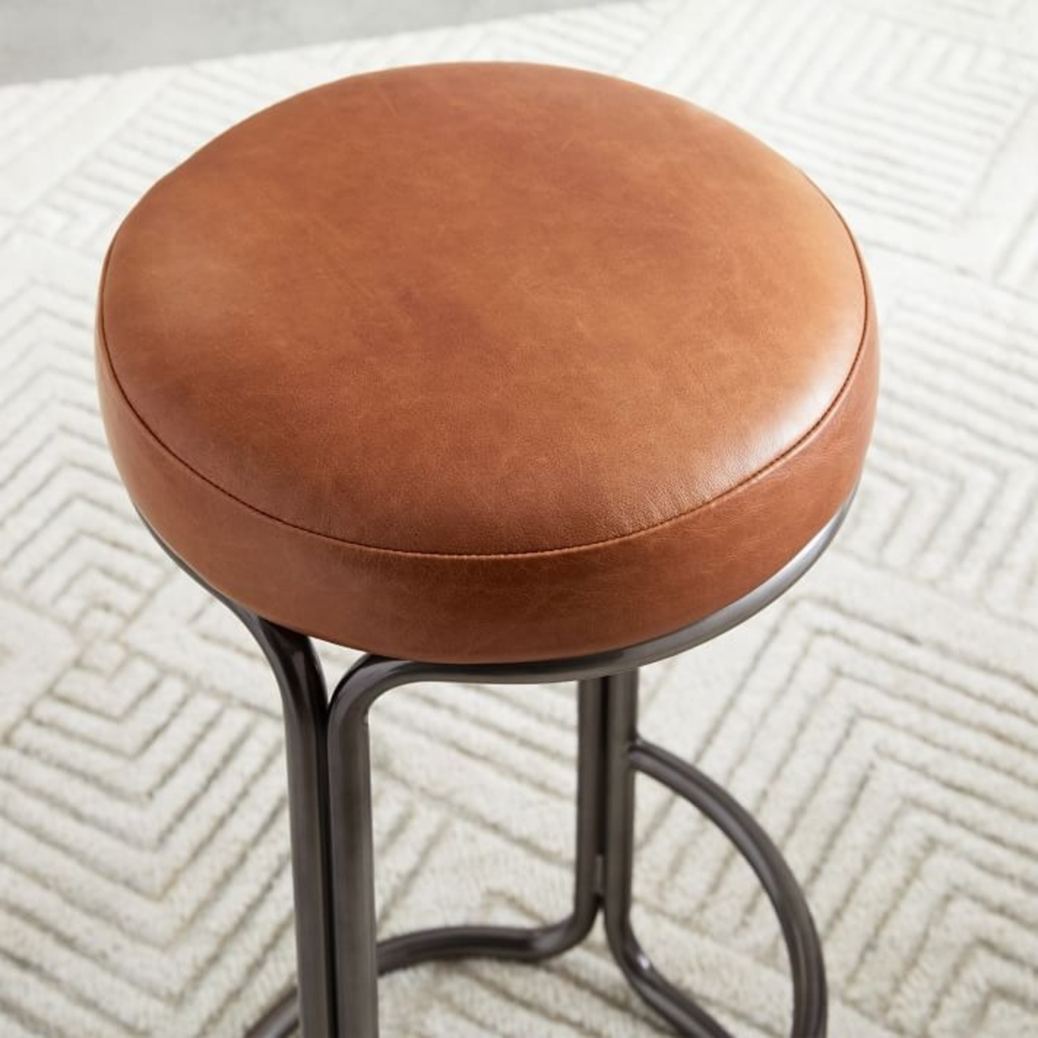 West Elm Cora Leather Counter Stool - image-1