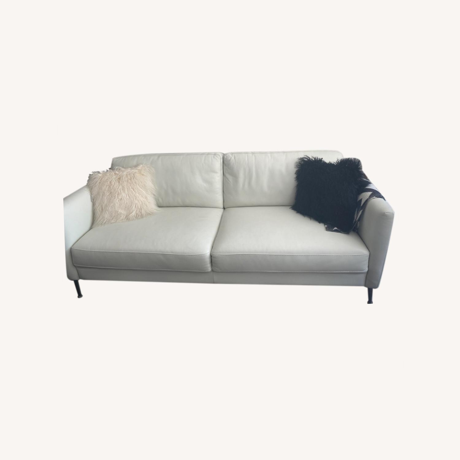 Bloomingdale's White Leather Sofa - image-0